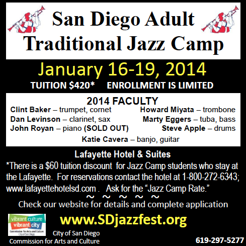 San Diego Adult Trad Jazz Camp, Jan 16-19, 2014